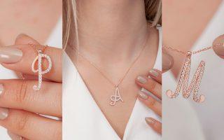 Diamond Initial Pendant and Diamond Name Rings
